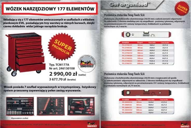 Gazetka PROMOCYJNA – Teng Tools – wózek narzędziowy / poziomice